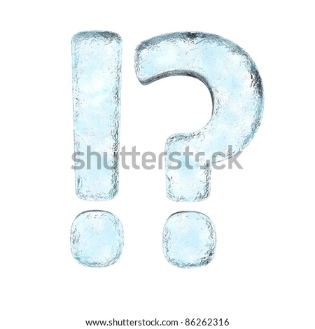 Icing alphabet the sign !?  (High definition isolated on white) - stock photo