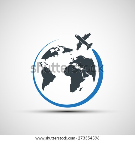 icon airplane fly around the planet earth - stock photo