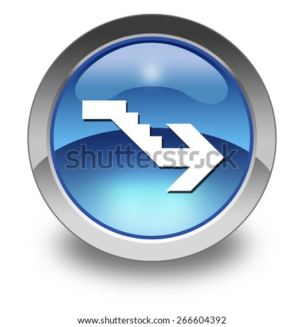 Icon, Button, Pictogram with Downstairs symbol - stock photo