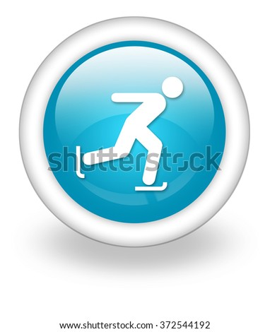 Icon, Button, Pictogram with Ice Skating symbol - stock photo