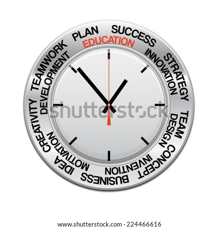 icon clock , red arrow specifies in a word education,  for Your successful business design or presentation