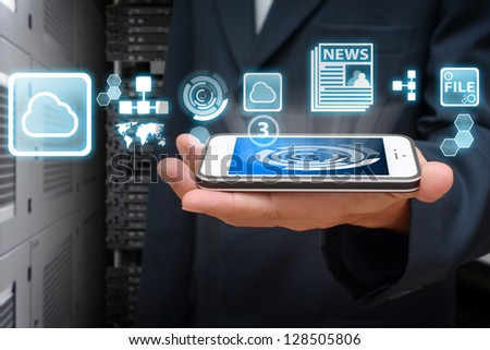 Icon control from smart phone - stock photo