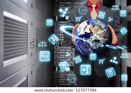Icon control the digital world in data center room : Elements of this image furnished by NASA - stock photo