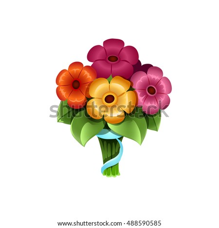 Icon Cute Cartoon Bouquet Of Flowers