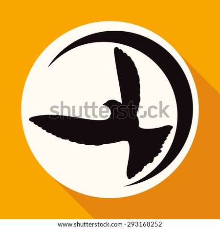 Icon Dove of Peace on white circle with a long shadow - stock photo