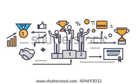 Icon flat style design successful team. Success people and businessman, corporate teamwork partner person, finance support, together job, company financial business achievement. Thin line outline icon - stock photo