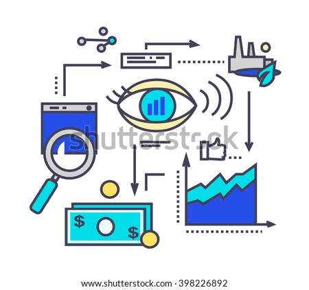 Icon flat style design vision development. Process management, project strategy marketing, innovation and money finance, organization plan illustration. Vision development thin line outline icons - stock photo