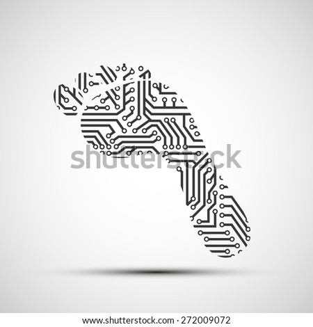 icon footprint as a chip - stock photo