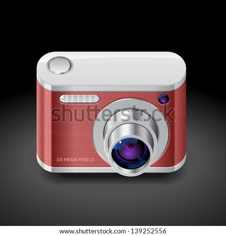 Icon for red compact camera. Dark background. Raster version. Vector version is also available.