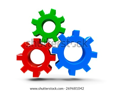 Icon gears - concept of CMS - content management system, three-dimensional rendering - stock photo