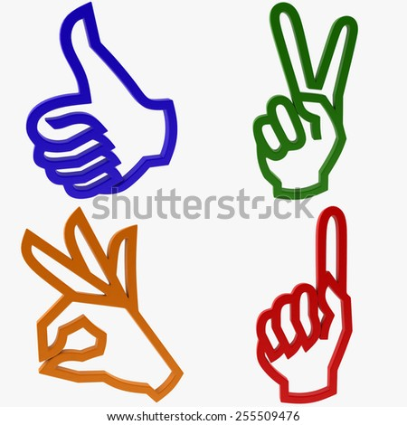 Icon Hand Gesture - stock photo