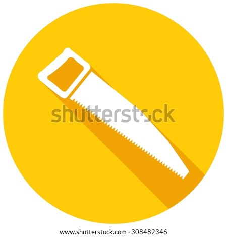 Icon hand saw with a long shadow - stock photo