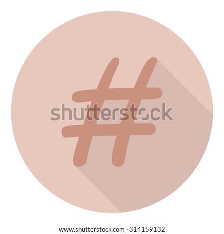 icon hashtag in flat design - stock photo