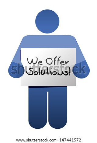 icon holding a we offer solutions sign. illustration design over white
