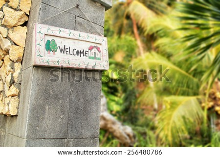 icon home with beautiful natural background - stock photo