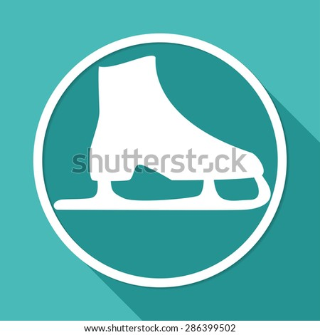 Icon ice skates on white circle with a long shadow - stock photo