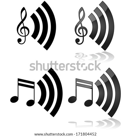 Icon illustration that can be used for streaming music - stock photo