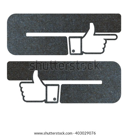 Icon like, hand recycled paper craft on white background  - stock photo