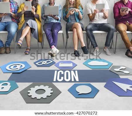 Icon Network Technology Graphic Concept - stock photo