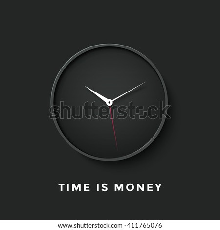 Icon of black clock face with shadow and message Time is Money on dark wall background. Illustration - stock photo