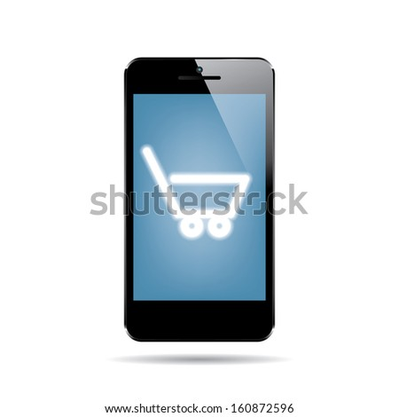 icon of black smartphone with shopping cart on display.(rasterized version) - stock photo