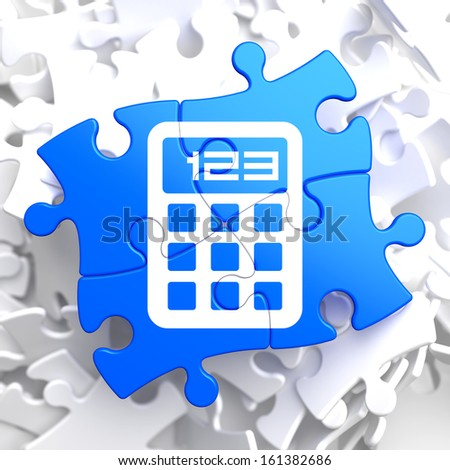 Icon of Calculator on Blue Puzzle. - stock photo