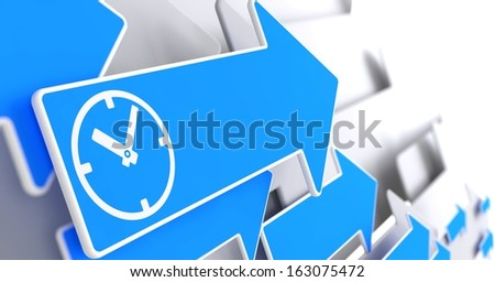 Icon of Clock Face on Blue Arrow on a Grey Background. - stock photo