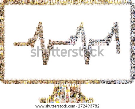 Icon of diagram on the monitor. Isolated collage - stock photo