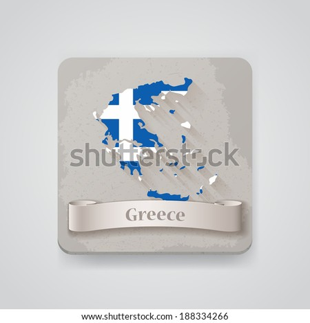 Icon of Greece map with flag. Raster version - stock photo