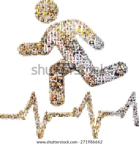 Icon of health running. Isolated collage - stock photo