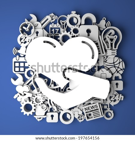 Icon of Heart in the Hand on Handmade Paper Decoration on Blue Background. - stock photo