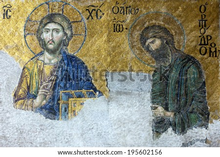Icon of Jesus Christ and St. John in Cathedral mosque Hagia Sofia in Istanbul, Turkey - stock photo