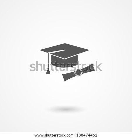icon of mortarboard or graduation cap and diploma conceptual of education, knowledge, expertise and completion of studies with bachelors or doctoral degree - stock photo