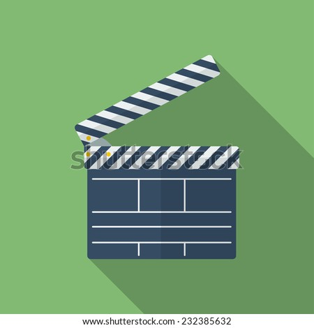 Icon of Movie Clapper. Flat style