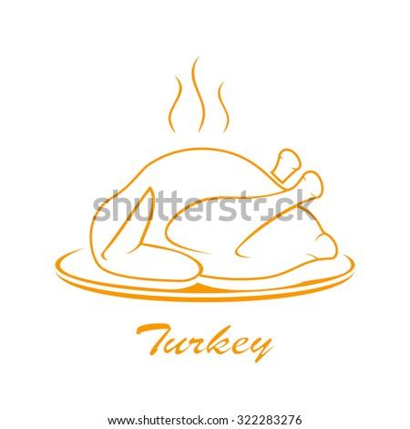 Icon of roast turkey on plate isolated on white background, illustration. - stock photo