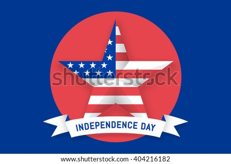 Icon of Star with american flag USA on circle background. Set of symbols and design elements for Independence Day in United States of America. White, red, blue colors. Illustration - stock photo