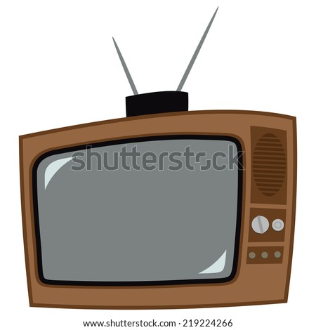 Icon of the old television with antenna
