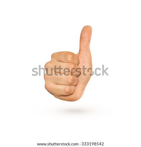 Icon of thumb up sign isolated on white. Nice symbol of gesture with knuckle and big finger. Good idea approval. Yes, ok, confirm in one fist. Agree character show. Display success. Positive hand. - stock photo