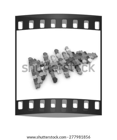 Icon on a theme fish. Puzzle. Illustration for design on a white background. The film strip - stock photo