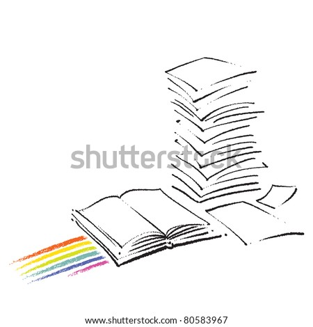 Icon - Open book and a stack of paper sheets (simple freehand drawing)  (raster version)