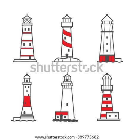 Icon or logo set of black and white lighthouses. Searchlight towers for maritime navigational guidance - stock photo