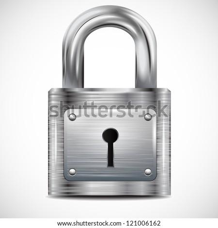 icon padlock, metal structure - stock photo