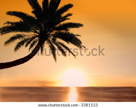 Icon photo of romantic, tropical beach at sunset - stock photo