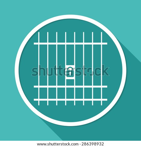 Icon Prison on white circle with a long shadow - stock photo