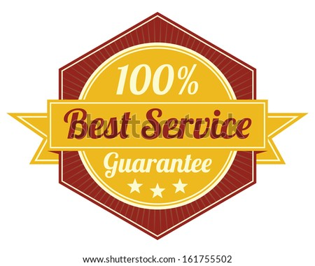 Icon Quality Assurance and Quality Management Concept Present By Red Vintage Style Hexagon Icon or Shield With 100 Percent Best Service Guarantee Isolated on White Background  - stock photo