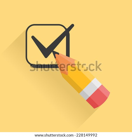Icon representing pencil and checkbox filled with tick mark - stock photo