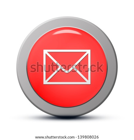 Icon series : red round Email button - stock photo