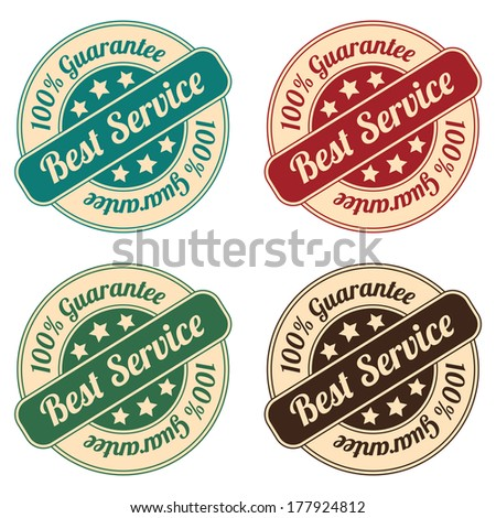 Icon Set for Quality Assurance and Quality Management Concept Present By Circle Colorful Vintage Style Icon or Sticker With Best Service 100 Percent Guarantee Isolated on White Background  - stock photo