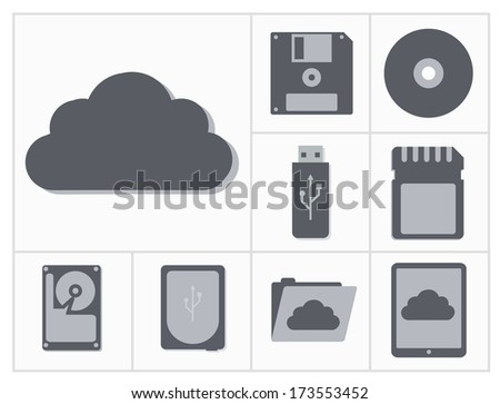 icon set of computer gadgets and devices squares collection, light blue background - stock photo