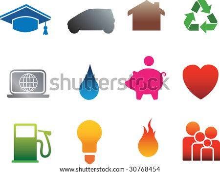 icon set of detailed flat silhouette home icons on white